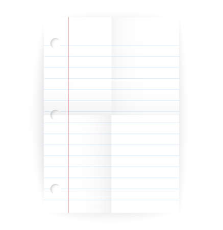 Vector notepad ruled blank page with folded lines and realistic shadow isolated on white.