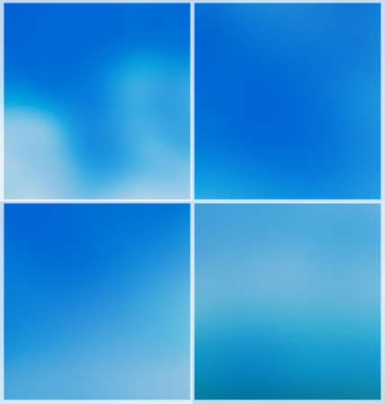 Blurred sky abstract backgrounds. Set of four.  Blue blurred backdrop for web and mobile.