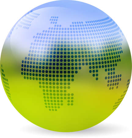 shire: Globe symbol colored with blurred landscape. Icon of Earth isolated on white with realistic shadow.