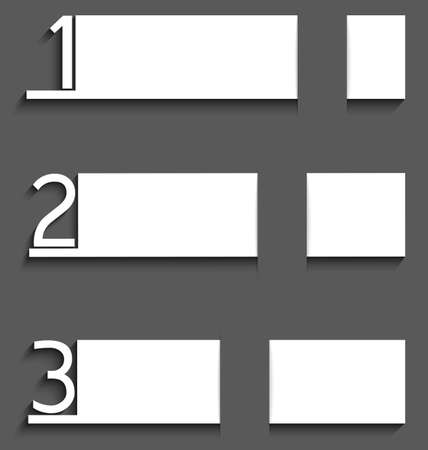 Illustration of white paper bars with numbers with realistic shadows on gray background