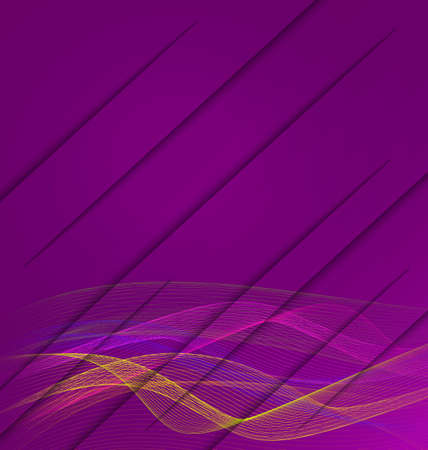 Purple wavy background textured with realistic paper cuts. Colorful waves made with line bend.