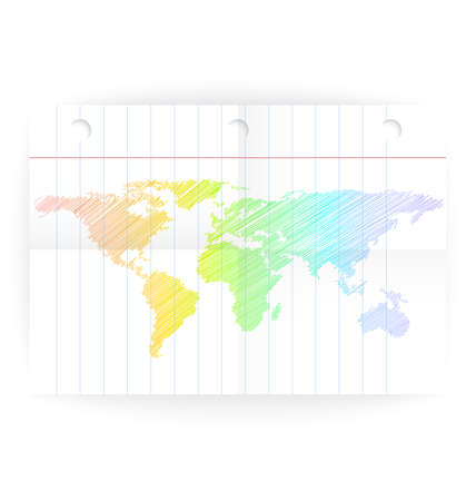 ruled: Vector notepad ruled page with folded lines and world map rainbow crayon colored.   Illustration