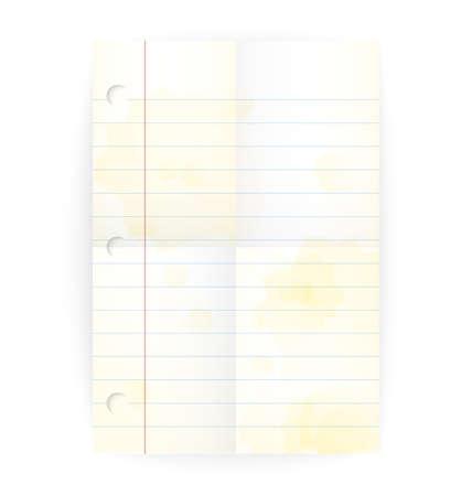 ベクター古いメモ帳は、折り畳まれた行と黄色の汚れ白の空白のページを支配しました。