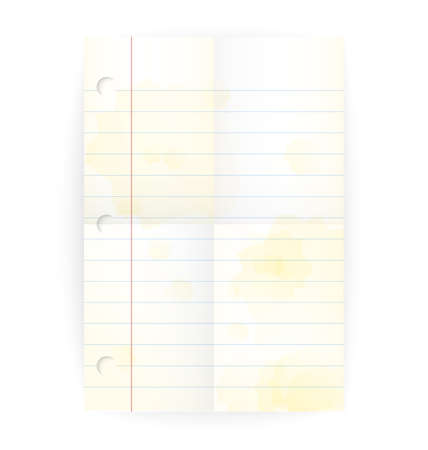 Vector old notepad ruled blank page with folded lines and yellow stains on white.