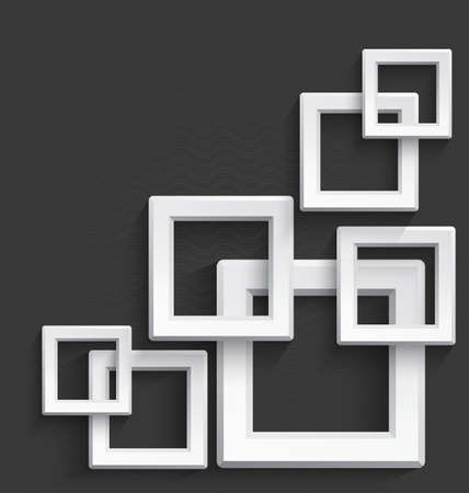 Illustration of white 3d square frames overlapping with realistic long shadow on dark gray background