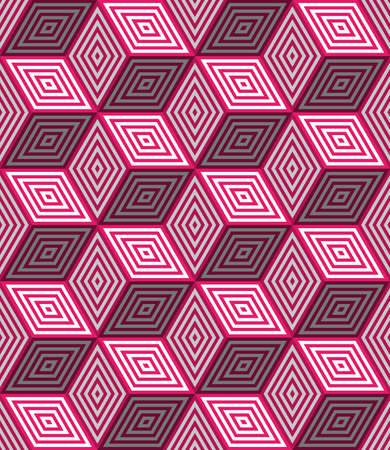 Abstract seamless background with 3d pink cubes with realistic shadow and ornament    Ilustração