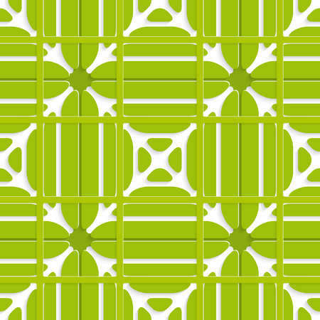 grid paper: Abstract seamless background cut out of paper layered with rectangle grid green ornament with realistic shadows.