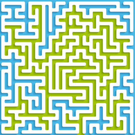 Abstract maze background with white walls and blue and green base.    Çizim