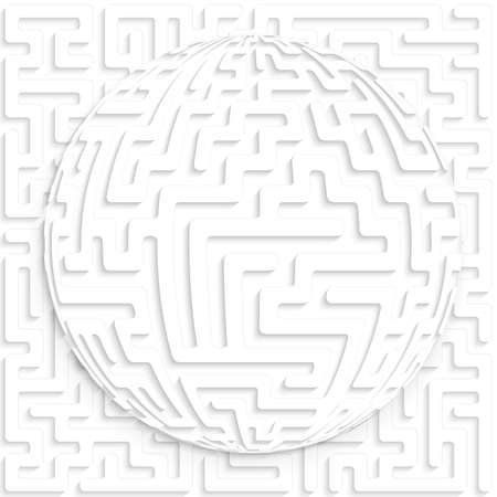 layered sphere: Abstract globe with maze on maze background with shadow and cut out paper effect