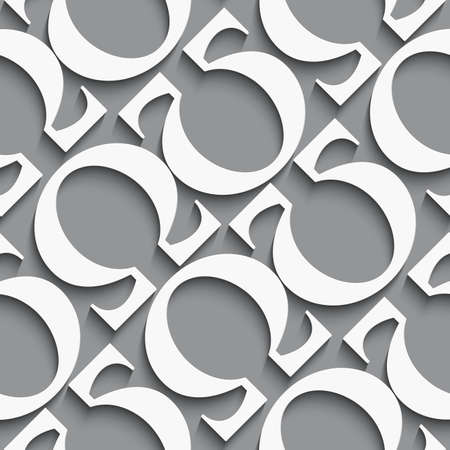 alphabet greek symbols: White diagonal seamless background with omega letters on dark gray with realistic shadow