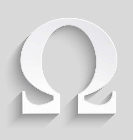 White Omega letter with realistic shadow on gray background.