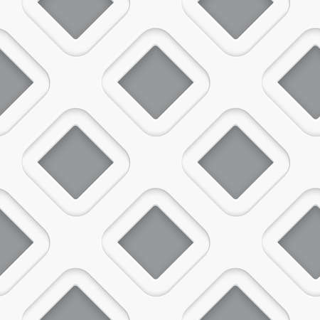 Seamless white diagonal square background with realistic shadows on gray
