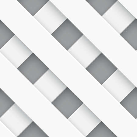 Seamless white fence background with realistic shadows on gray    Ilustração