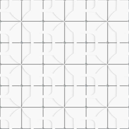 Seamless white layered ornament with square tiles and simple shapes with realistic shadow and cut out of paper effect      Ilustrace