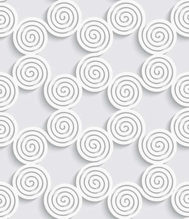 Abstract spiral seamless background with cut out of paper effect and realistic shadow
