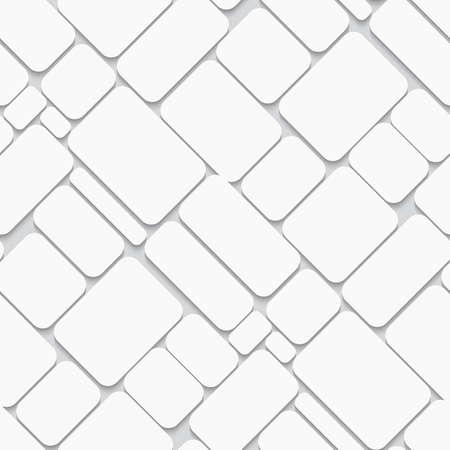 Abstracte diagonale naadloze achtergrond witte bakstenen met realistische schaduw.