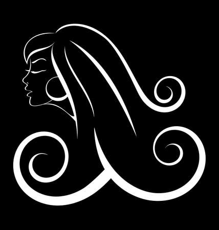 Black and white outline illustration of young woman with long curly hair