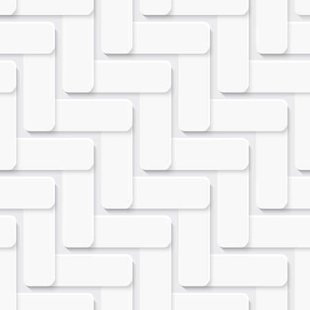 White abstract seamless  background. Diagonal ornament with square tiles layered with realistic shadow.    Ilustrace