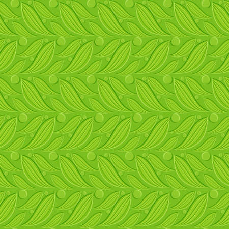 Seamless abstract background. Green floral backdrop with embossed paper effect;