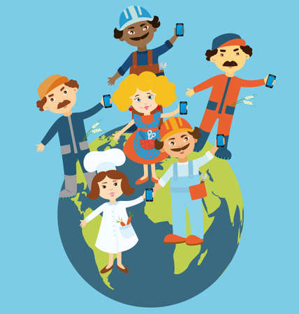 flat earth: Flat design illustration of cartoon people standing on the globe holding mobile phones in their hands.  Cartoon people representing different occupations and ethnic gropes