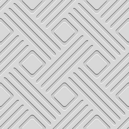 Seamless abstract background.  Gray embossed lines with cut out of paper effect and realistic shadow on gray