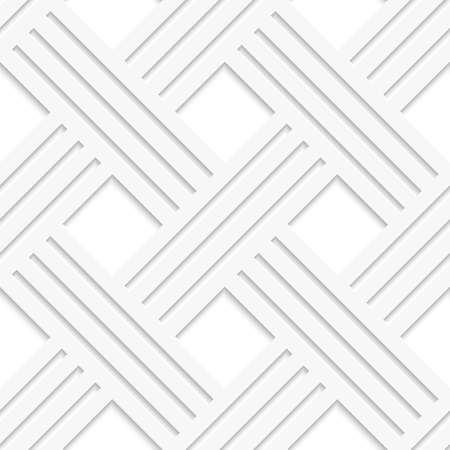diagonal lines: Seamless abstract background.  White crossed lines with cut out of paper effect and realistic shadow  Illustration
