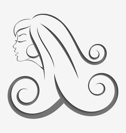 Outline illustration of young woman with long curly hair cut out of paper with realistic shadow