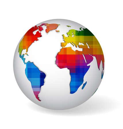 색깔의 무지개와 기하학적 질감 세계지도 화이트 글로브 기호. 지구 아이콘 현실적인 그림자와 화이트에 격리입니다.
