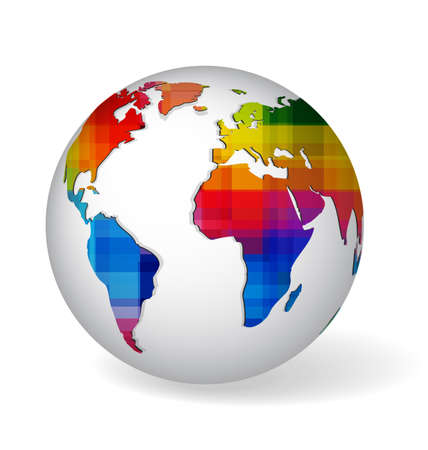 White globe symbol with rainbow colored and geometrical textured world map. Icon of Earth isolated on white with realistic shadow.