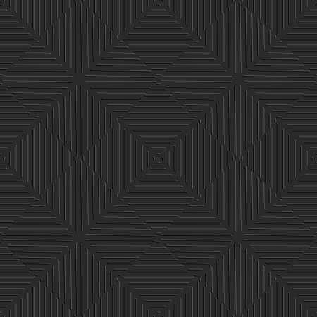 Naadloze zwarte achtergrond. Eenvoudige geometrische ornament met reliëf lijnen.