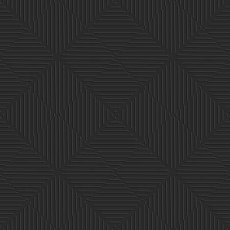 Seamless black abstract background. Simple geometrical ornament with embossed lines.