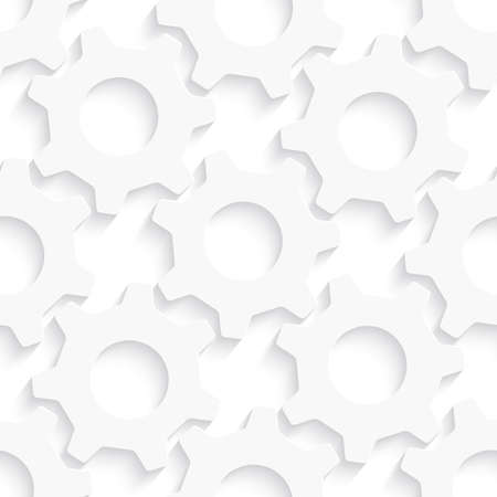 Seamless abstract background of white 3d gears with realistic shadow.    Ilustrace