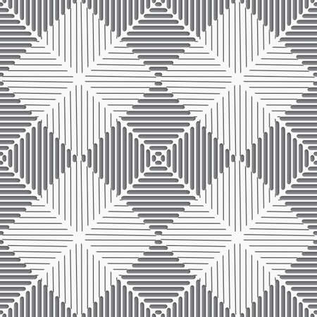 White seamless abstract background. Simple geometrical ornament with lines and squares. Realistic shadows and cut out paper effect .