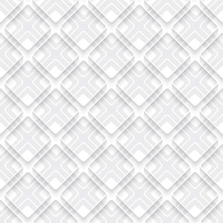 rim: White and gray abstract diagonal seamless background. Simple geometrical ornament. Squares with 3d rim and some layers.