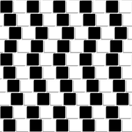 shifted: Abstract geometrical background with black and white square tiles shifted for creating an optical illusion.    Illustration