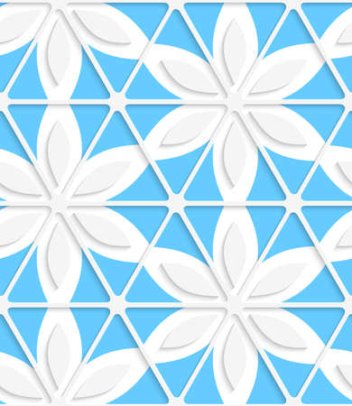 cut out paper: Abstract seamless background. Floral with net and blue with cut out paper effect and realistic shadows.