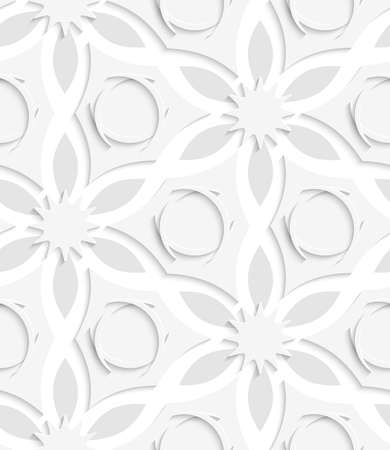floristic: Abstract seamless background. Floristic gray layered shapes with cut out paper effect and realistic shadows.