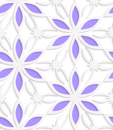 floristic: Abstract seamless background. Floristic white shapes with cut out paper effect and realistic shadows.