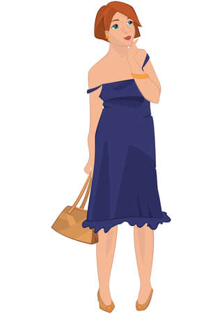 Illustration of retro young woman standing isolated on white. Hipster girl in blue dress.      Illustration