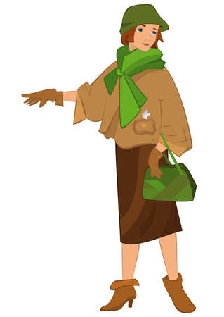 立っているレトロな若い女性のイラストが白で隔離。緑のスカーフで内気な少女。