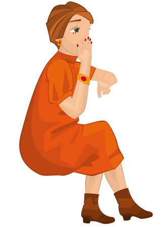 Illustration of retro young woman isolated on white. Retro girl sitting in orange dress.