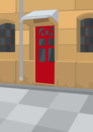 Illustration of the street with yellow building and red door. Retro urban scene.