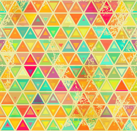 Abstract geometrical seamless background. Vintage colors and grange texture.   Ilustração