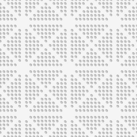 Abstract seamless background. White dots perforated with cut out of paper effect embossed.   Illustration