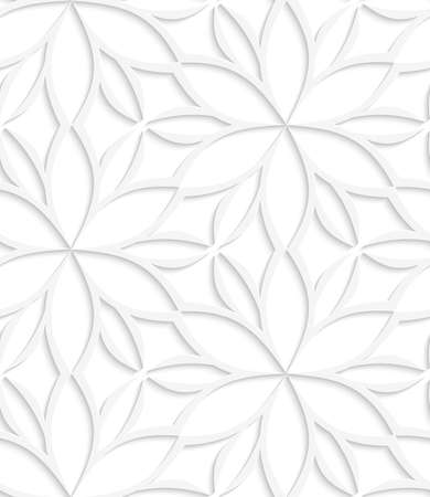 perforated: Abstract seamless background. White floral detailed with cut out paper effect and realistic shadows.