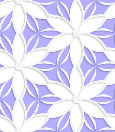 cut out paper: Abstract seamless background. White floral detailed with cut out paper effect and realistic shadows.   Illustration