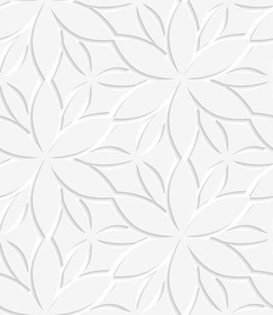 Abstract seamless background. White floral perforated with cut out paper effect and realistic shadows.   Illustration