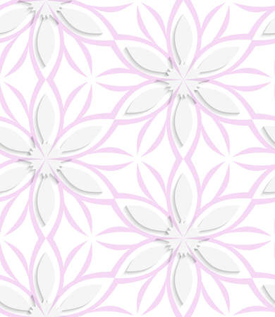 Abstract seamless background. White floral with pink layering with cut out of paper effect embossed.