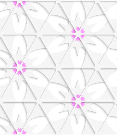 cut out paper: Abstract seamless background. White triangular net and pink with cut out paper effect and realistic shadows.  Illustration