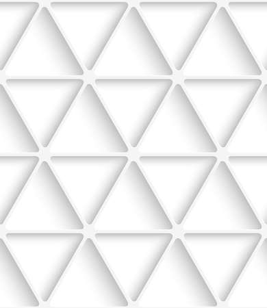 perforated: Abstract seamless background. White triangular net with cut out paper effect and realistic shadows.